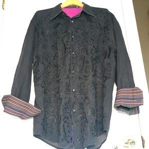Robert Graham black embroidered collared shirt 3XL